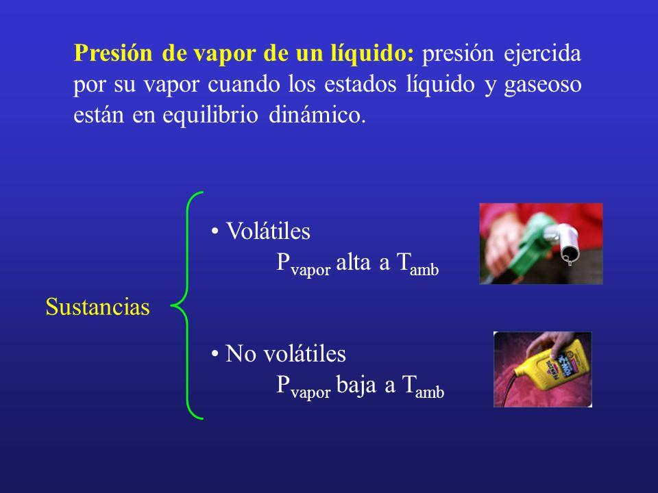Presión de vapor de un líquido: presión ejercida por su vapor cuando los estados líquido y gaseoso están en equilibrio dinámico. Sustancias Volátiles