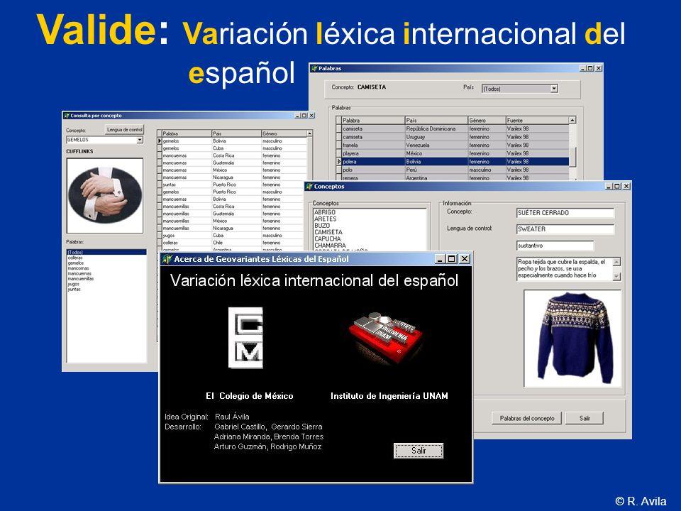 © R. Avila Valide: Variación léxica internacional del español