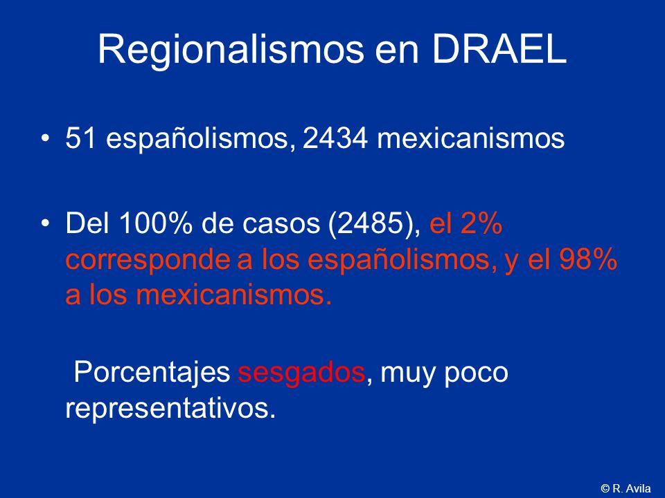 © R. Avila Regionalismos en DRAEL 51 españolismos, 2434 mexicanismos Del 100% de casos (2485), el 2% corresponde a los españolismos, y el 98% a los me