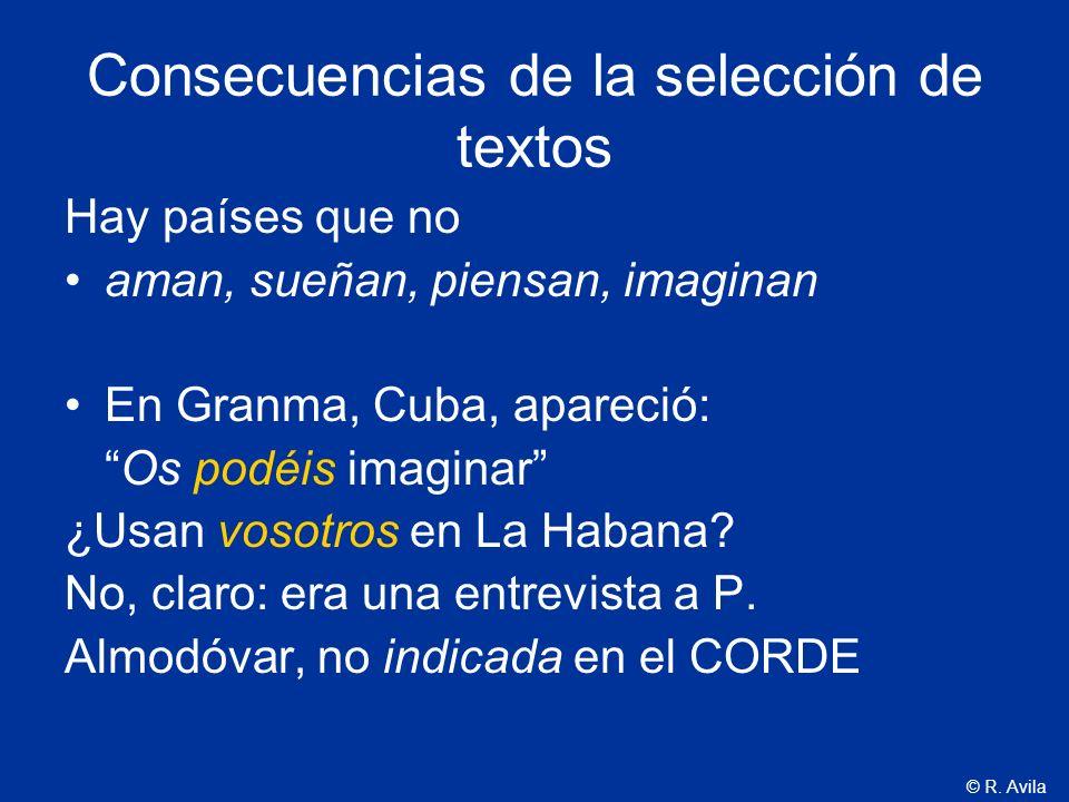 © R. Avila Consecuencias de la selección de textos Hay países que no aman, sueñan, piensan, imaginan En Granma, Cuba, apareció: Os podéis imaginar ¿Us