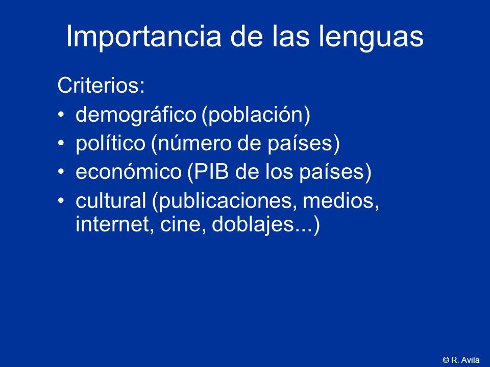 © R. Avila Importancia de las lenguas Criterios: demográfico (población) político (número de países) económico (PIB de los países) cultural (publicaci