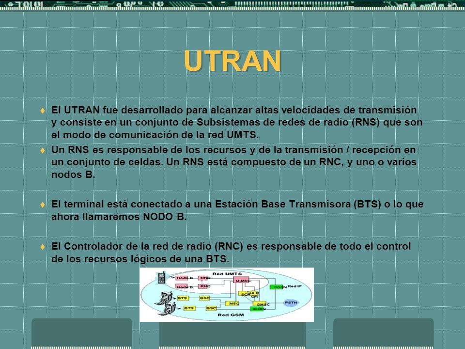 Arquitectura UMTS Se divide en tres partes: Los equipos de usuario El UTRAN La red principal (core network) Los equipos de usuario, son cada uno de lo