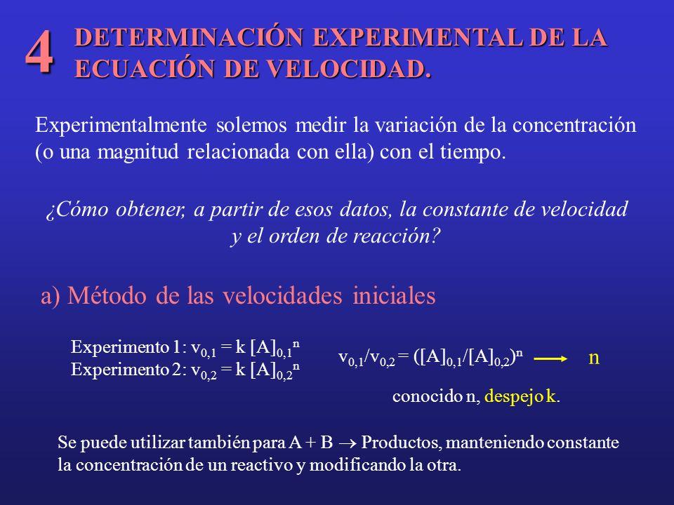 DETERMINACIÓN EXPERIMENTAL DE LA ECUACIÓN DE VELOCIDAD. 4 Experimentalmente solemos medir la variación de la concentración (o una magnitud relacionada