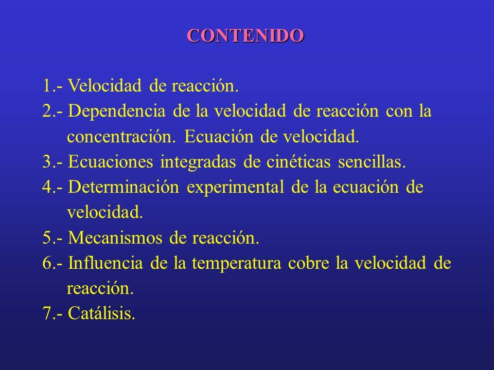 CONTENIDO 1.- Velocidad de reacción. 2.- Dependencia de la velocidad de reacción con la concentración. Ecuación de velocidad. 3.- Ecuaciones integrada