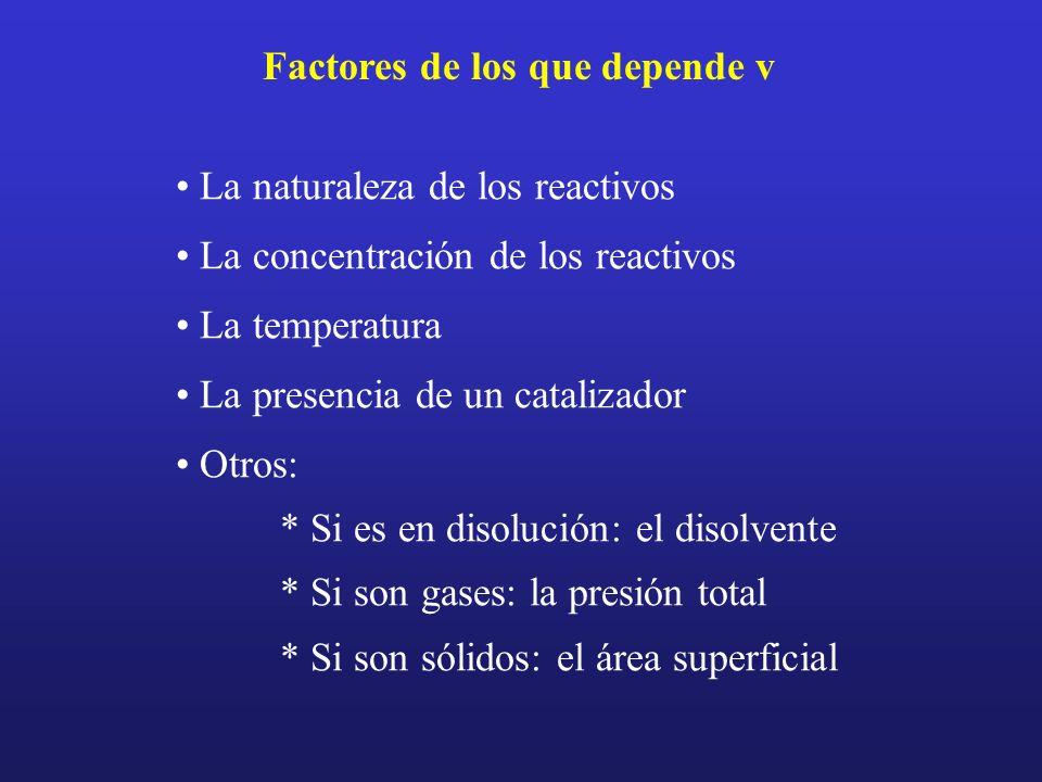 Factores de los que depende v La naturaleza de los reactivos La concentración de los reactivos La temperatura La presencia de un catalizador Otros: *