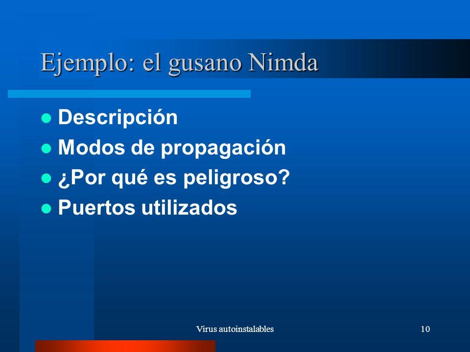 Virus autoinstalables10 Ejemplo: el gusano Nimda Descripción Modos de propagación ¿Por qué es peligroso.
