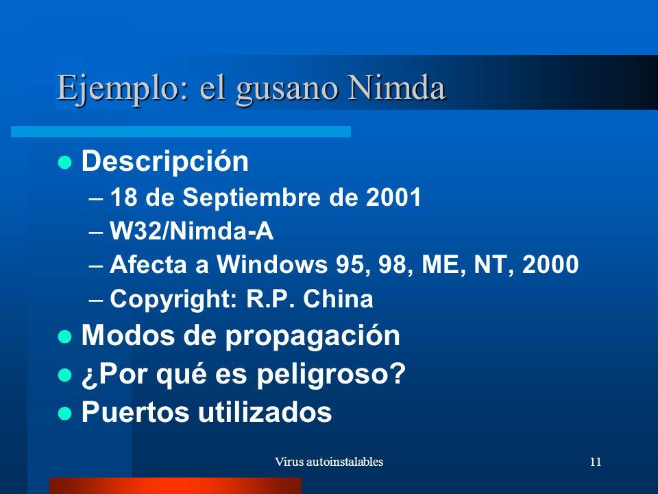 Virus autoinstalables11 Ejemplo: el gusano Nimda Descripción –18 de Septiembre de 2001 –W32/Nimda-A –Afecta a Windows 95, 98, ME, NT, 2000 –Copyright: R.P.
