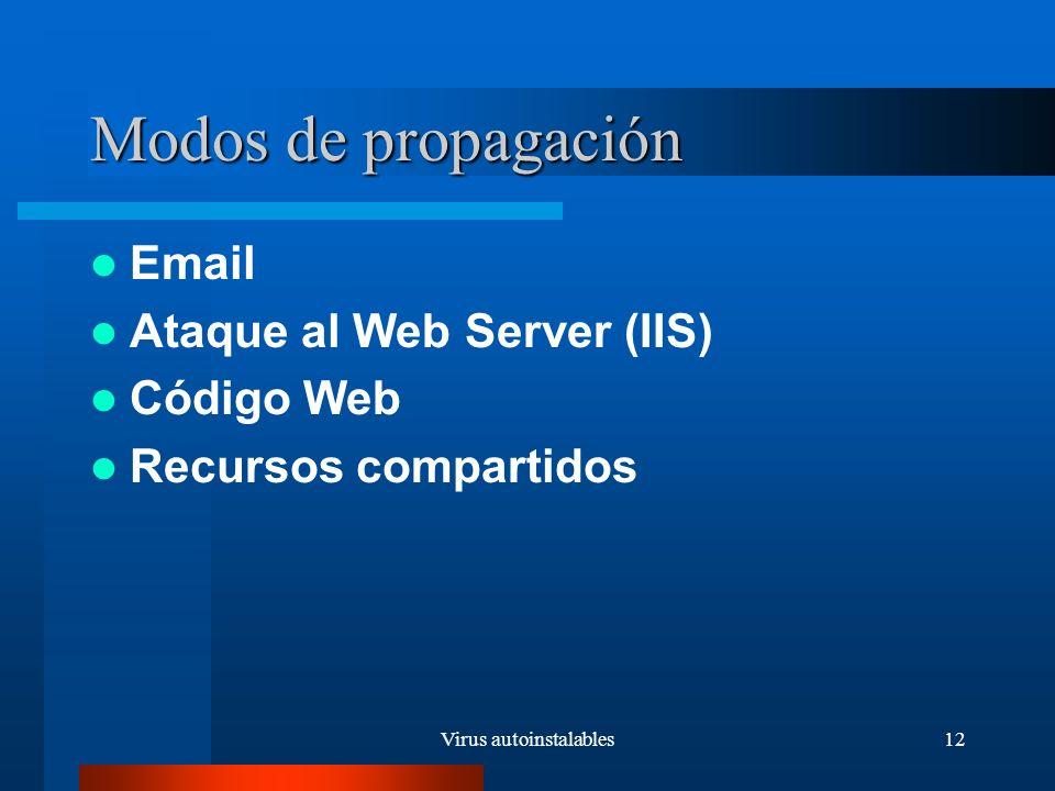 Virus autoinstalables12 Modos de propagación Email Ataque al Web Server (IIS) Código Web Recursos compartidos