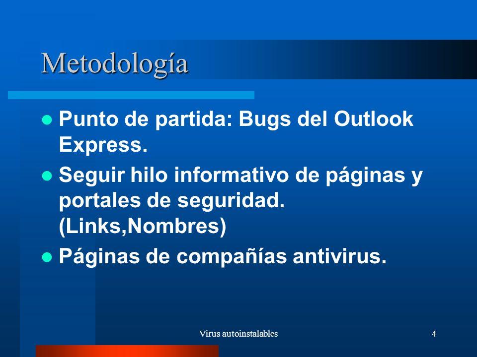 Virus autoinstalables5 Descripción del trabajo Criterios de clasificación de los virus Clasificación de los virus Ejemplo: el gusano Nimda Descripción del bug de Cuartango Notas sobre el bug de Guninski