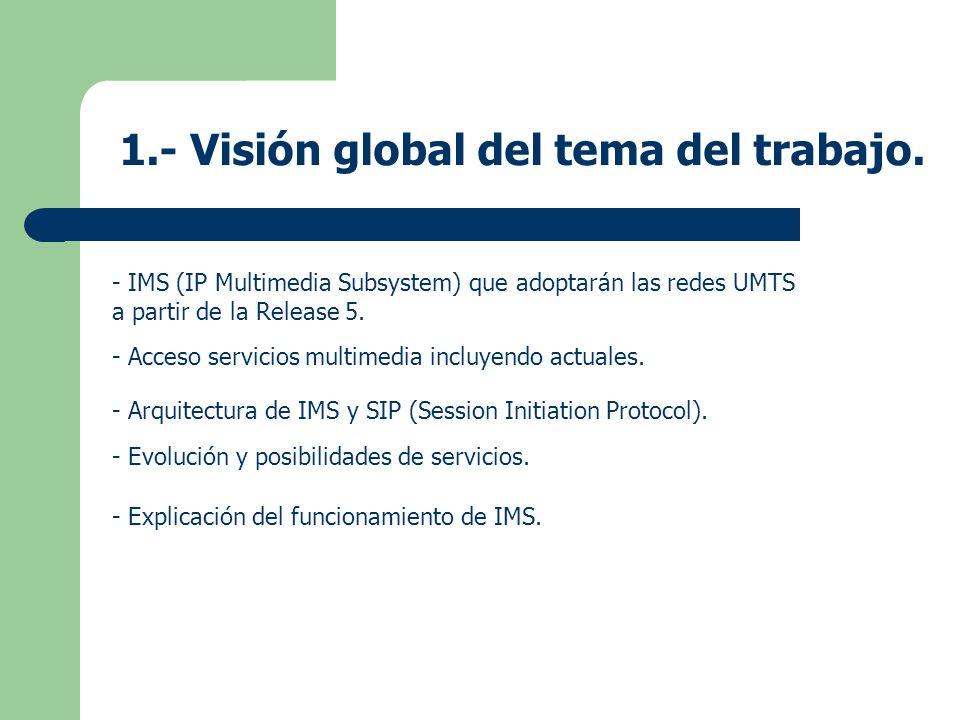 1.- Visión global del tema del trabajo. - IMS (IP Multimedia Subsystem) que adoptarán las redes UMTS a partir de la Release 5. - Acceso servicios mult