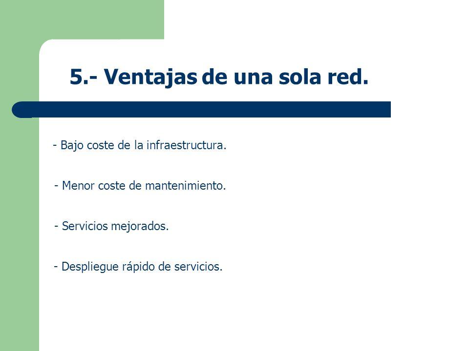 5.- Ventajas de una sola red. - Bajo coste de la infraestructura. - Menor coste de mantenimiento. - Servicios mejorados. - Despliegue rápido de servic