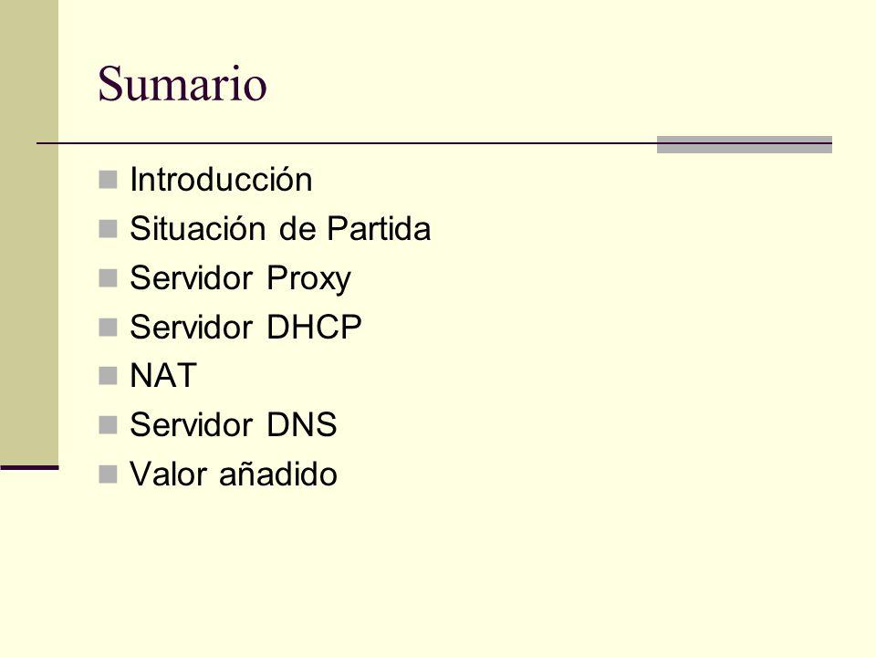 Sumario Introducción Situación de Partida Servidor Proxy Servidor DHCP NAT Servidor DNS Valor añadido