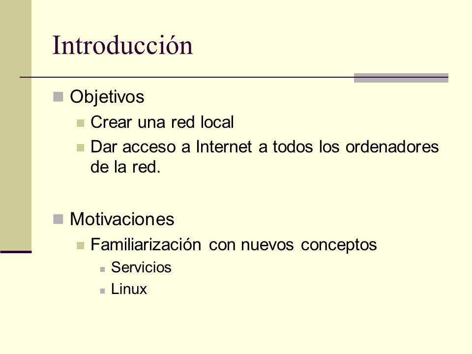 Introducción Objetivos Crear una red local Dar acceso a Internet a todos los ordenadores de la red. Motivaciones Familiarización con nuevos conceptos