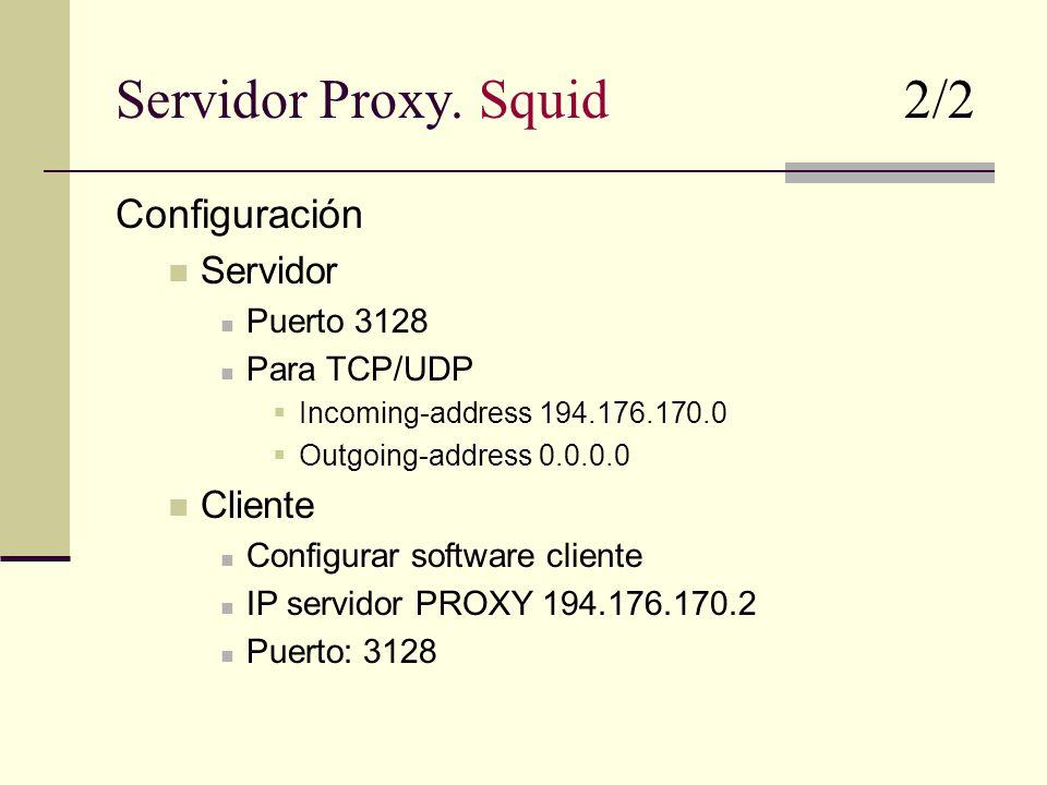 Servidor Proxy. Squid 2/2 Configuración Servidor Puerto 3128 Para TCP/UDP Incoming-address 194.176.170.0 Outgoing-address 0.0.0.0 Cliente Configurar s