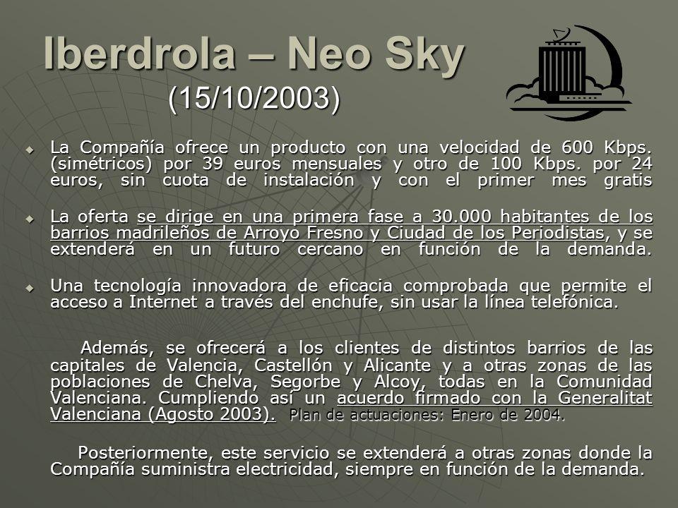 Iberdrola – Neo Sky (15/10/2003) Iberdrola – Neo Sky (15/10/2003) La Compañía ofrece un producto con una velocidad de 600 Kbps. (simétricos) por 39 eu