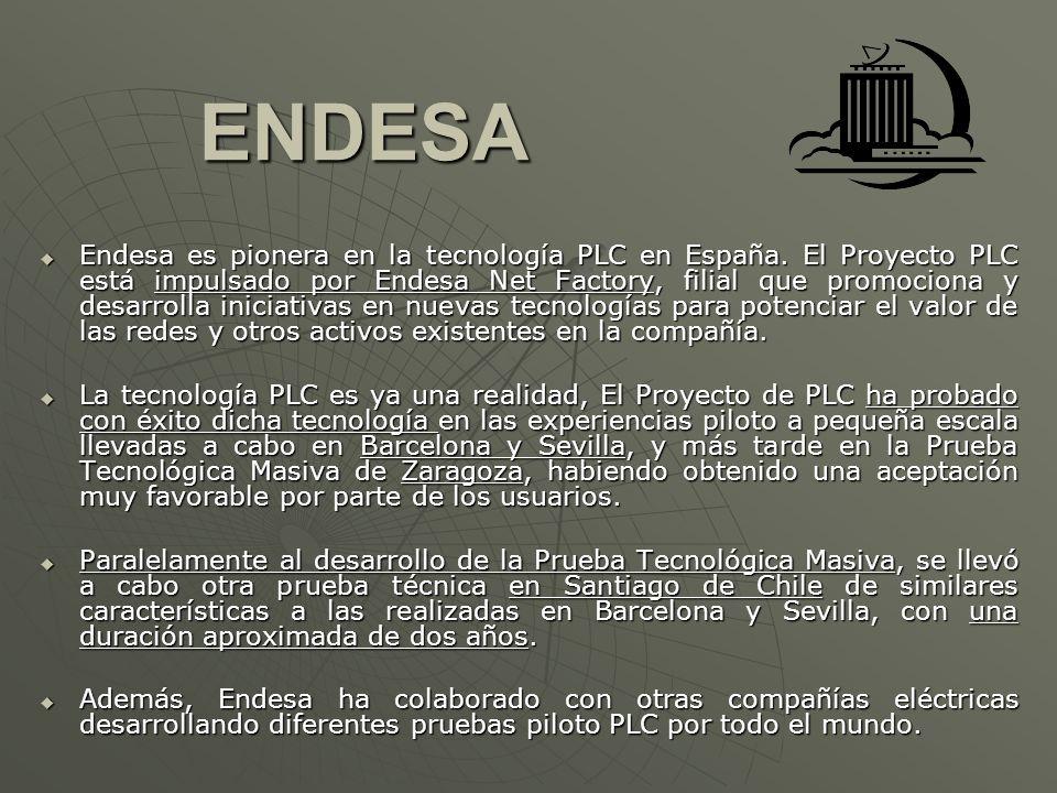 ENDESA ENDESA Endesa es pionera en la tecnología PLC en España. El Proyecto PLC está impulsado por Endesa Net Factory, filial que promociona y desarro