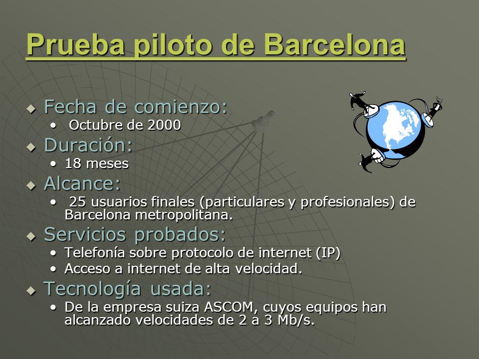 Prueba piloto de Barcelona Fecha de comienzo: Fecha de comienzo: Octubre de 2000 Octubre de 2000 Duración: Duración: 18 meses18 meses Alcance: Alcance