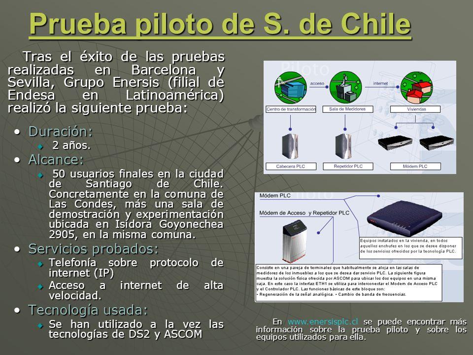 Prueba piloto de S. de Chile Tras el éxito de las pruebas realizadas en Barcelona y Sevilla, Grupo Enersis (filial de Endesa en Latinoamérica) realizó