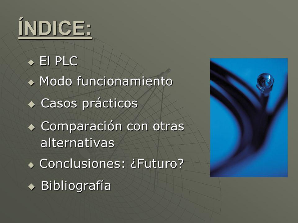 ÍNDICE: El PLC El PLC Modo funcionamiento Modo funcionamiento Casos prácticos Casos prácticos Comparación con otras Comparación con otras alternativas