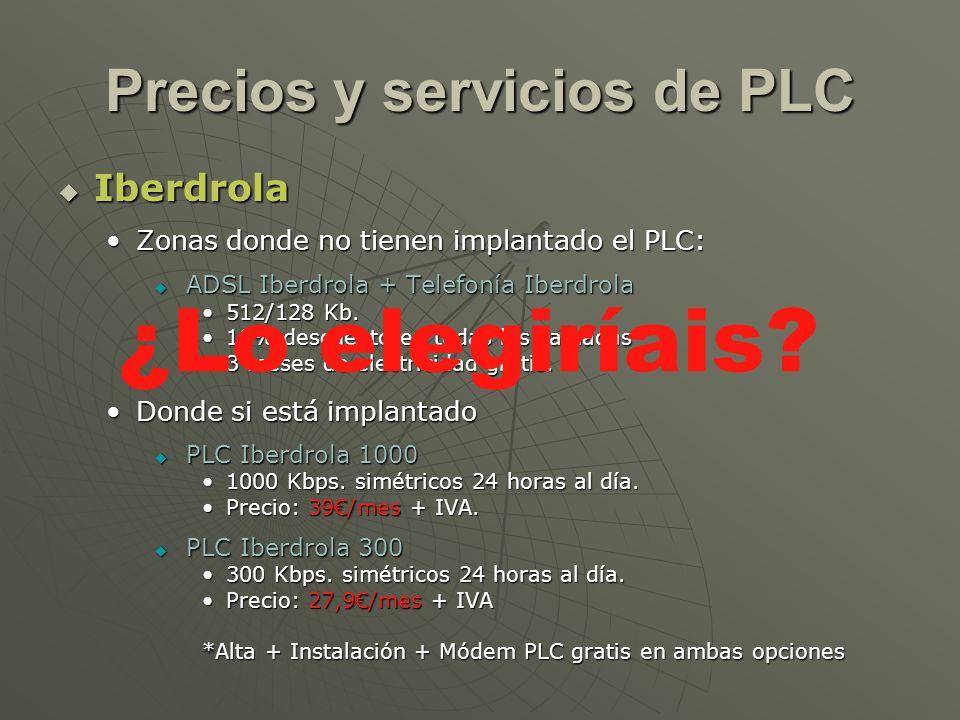 Precios y servicios de PLC Iberdrola Iberdrola Zonas donde no tienen implantado el PLC:Zonas donde no tienen implantado el PLC: ADSL Iberdrola + Telef