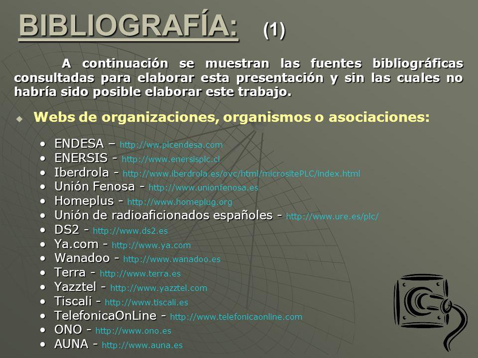 Webs de organizaciones, organismos o asociaciones: ENDESA –ENDESA – http://ww.plcendesa.com ENERSIS -ENERSIS - http://www.enersisplc.cl Iberdrola -Ibe