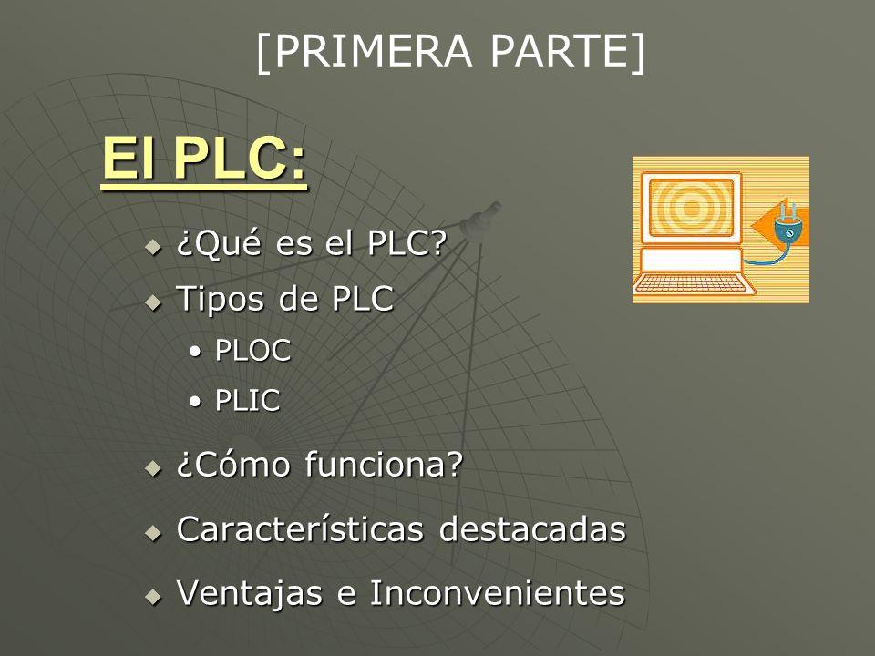 El PLC: ¿Qué es el PLC? ¿Qué es el PLC? Tipos de PLC Tipos de PLC PLOCPLOC PLICPLIC ¿Cómo funciona? ¿Cómo funciona? Características destacadas Caracte