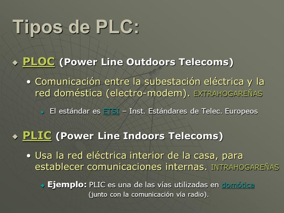 Tipos de PLC: PLOC (Power Line Outdoors Telecoms) PLOC (Power Line Outdoors Telecoms) Comunicación entre la subestación eléctrica y la red doméstica (