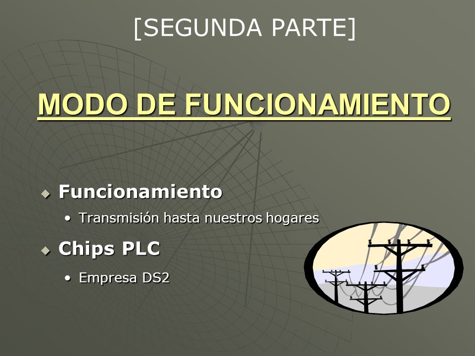 MODO DE FUNCIONAMIENTO Funcionamiento Funcionamiento Transmisión hasta nuestros hogaresTransmisión hasta nuestros hogares Chips PLC Chips PLC Empresa