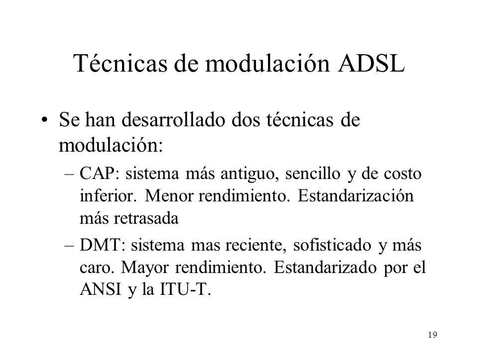 19 Técnicas de modulación ADSL Se han desarrollado dos técnicas de modulación: –CAP: sistema más antiguo, sencillo y de costo inferior. Menor rendimie