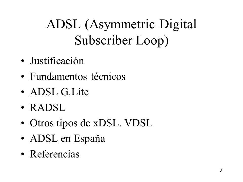 3 ADSL (Asymmetric Digital Subscriber Loop) Justificación Fundamentos técnicos ADSL G.Lite RADSL Otros tipos de xDSL. VDSL ADSL en España Referencias