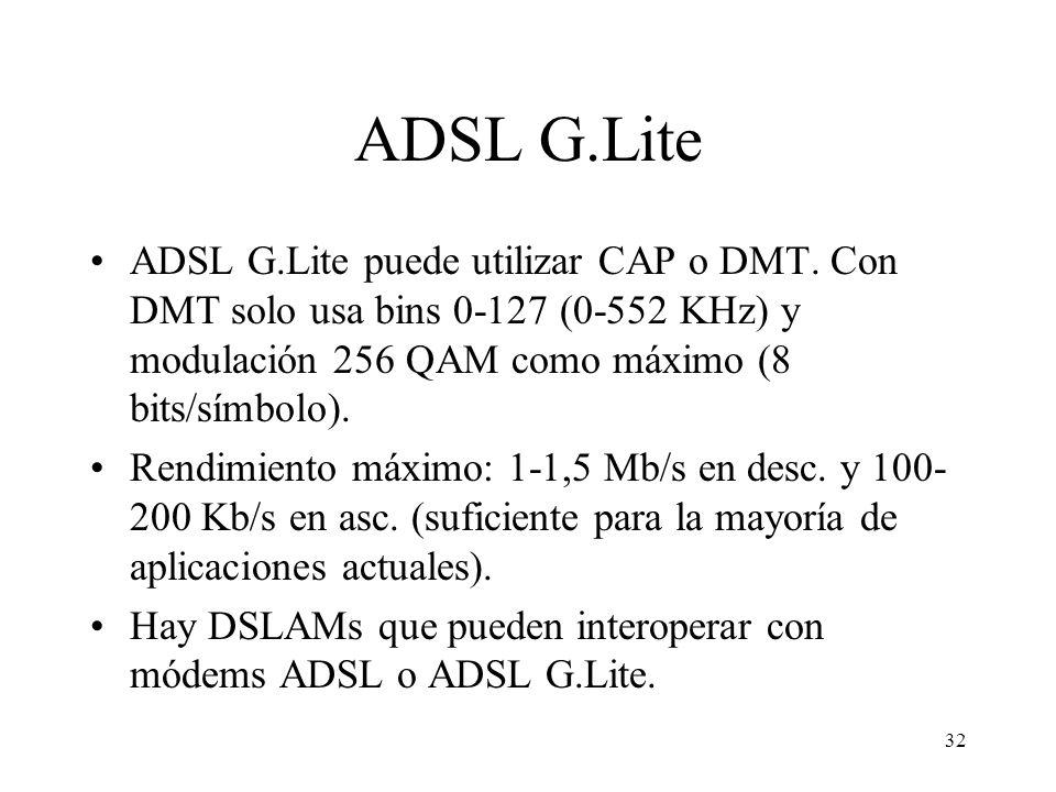 32 ADSL G.Lite ADSL G.Lite puede utilizar CAP o DMT. Con DMT solo usa bins 0-127 (0-552 KHz) y modulación 256 QAM como máximo (8 bits/símbolo). Rendim