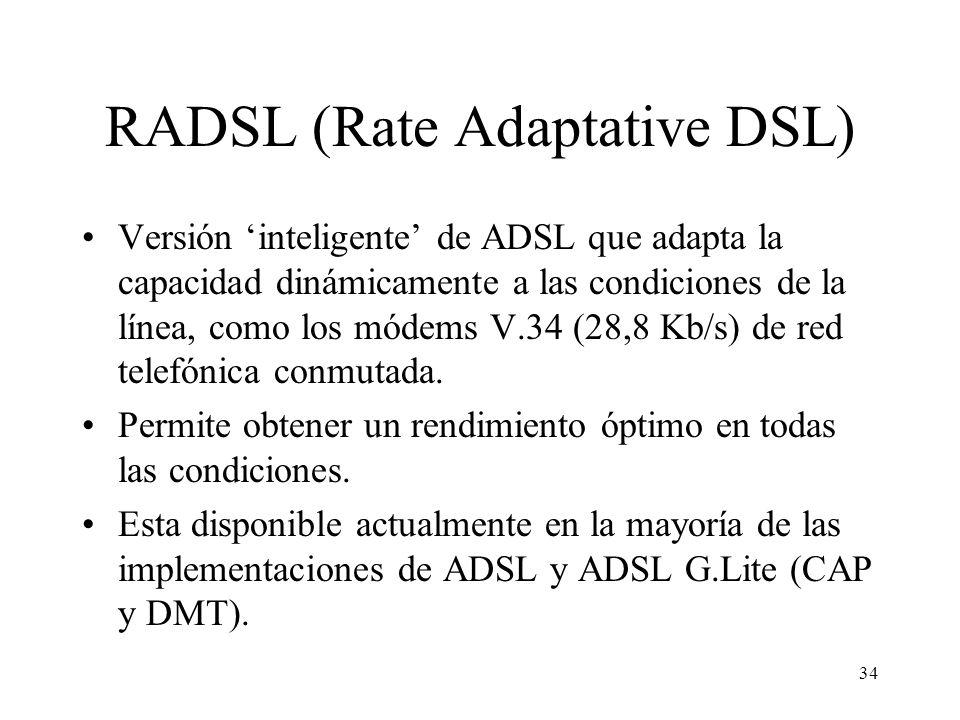 34 RADSL (Rate Adaptative DSL) Versión inteligente de ADSL que adapta la capacidad dinámicamente a las condiciones de la línea, como los módems V.34 (