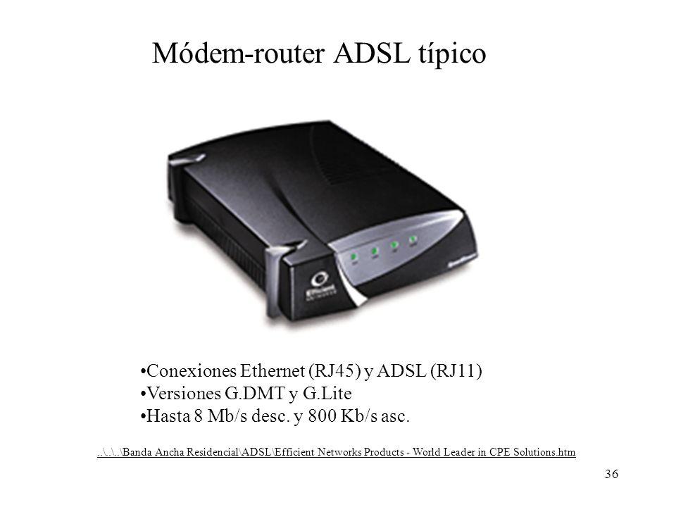 36 Módem-router ADSL típico Conexiones Ethernet (RJ45) y ADSL (RJ11) Versiones G.DMT y G.Lite Hasta 8 Mb/s desc. y 800 Kb/s asc...\..\..\Banda Ancha R