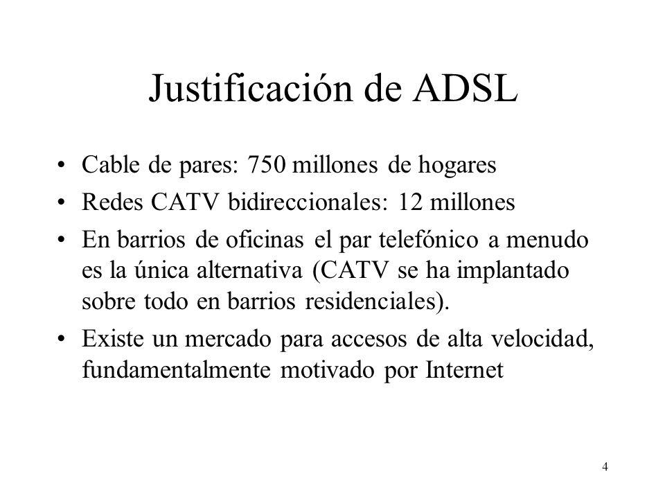 4 Justificación de ADSL Cable de pares: 750 millones de hogares Redes CATV bidireccionales: 12 millones En barrios de oficinas el par telefónico a men