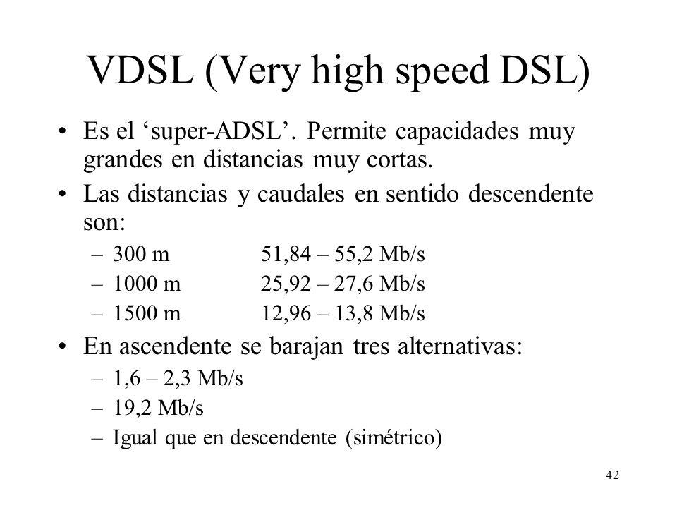 42 VDSL (Very high speed DSL) Es el super-ADSL. Permite capacidades muy grandes en distancias muy cortas. Las distancias y caudales en sentido descend