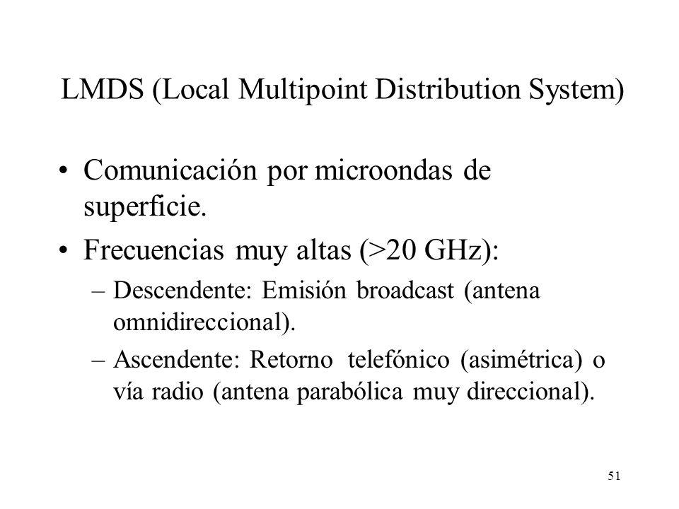51 LMDS (Local Multipoint Distribution System) Comunicación por microondas de superficie. Frecuencias muy altas (>20 GHz): –Descendente: Emisión broad