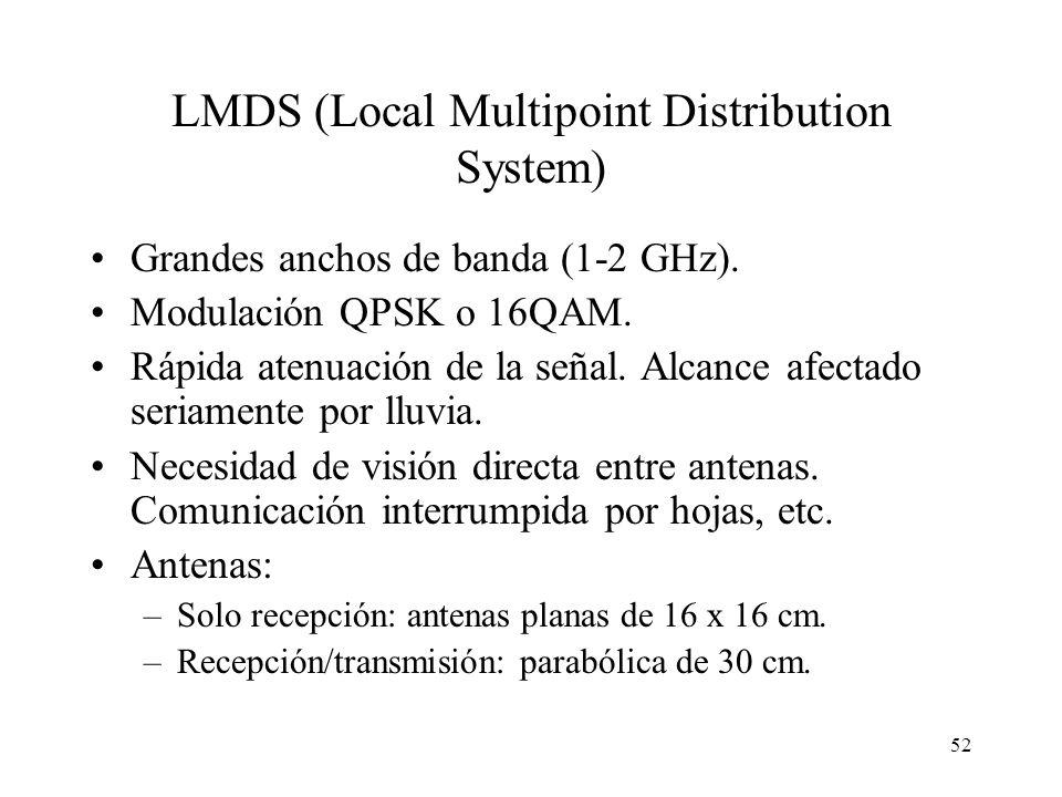 52 LMDS (Local Multipoint Distribution System) Grandes anchos de banda (1-2 GHz). Modulación QPSK o 16QAM. Rápida atenuación de la señal. Alcance afec