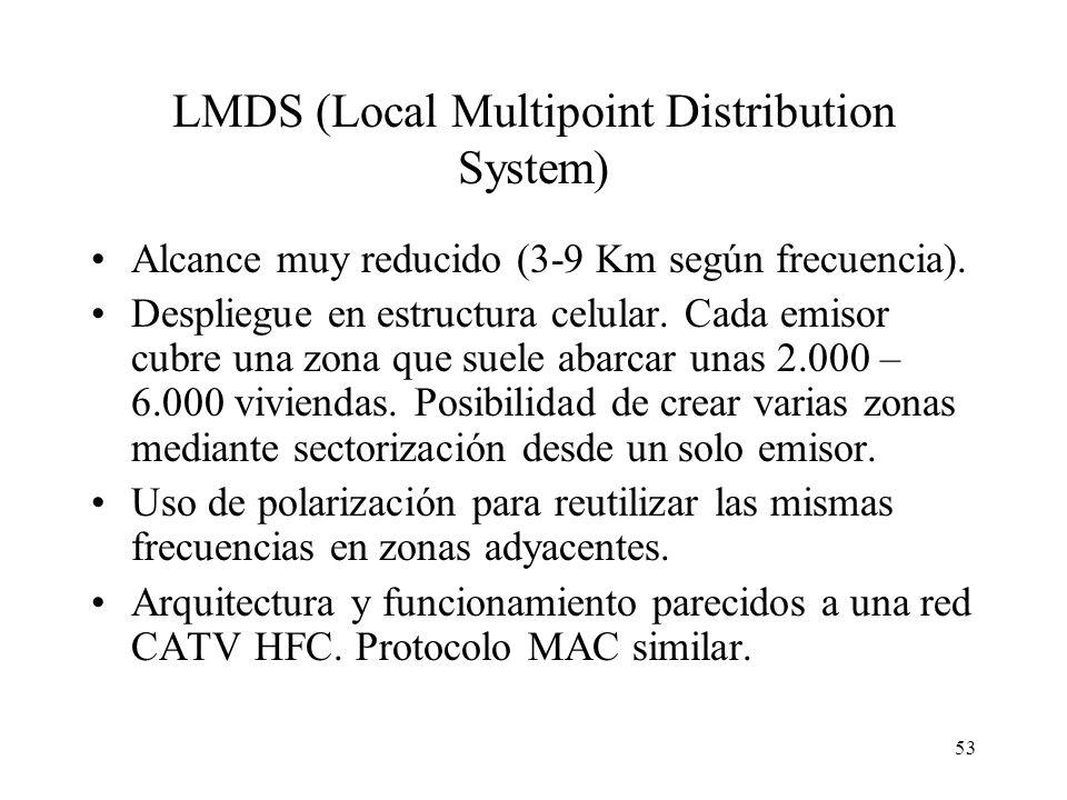 53 LMDS (Local Multipoint Distribution System) Alcance muy reducido (3-9 Km según frecuencia). Despliegue en estructura celular. Cada emisor cubre una