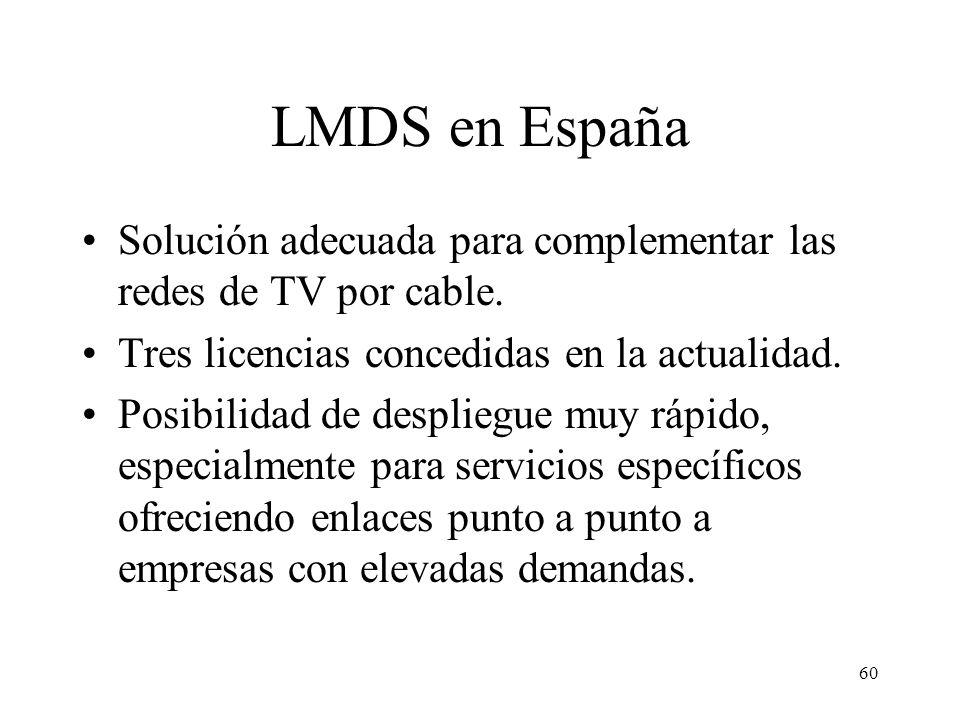 60 LMDS en España Solución adecuada para complementar las redes de TV por cable. Tres licencias concedidas en la actualidad. Posibilidad de despliegue