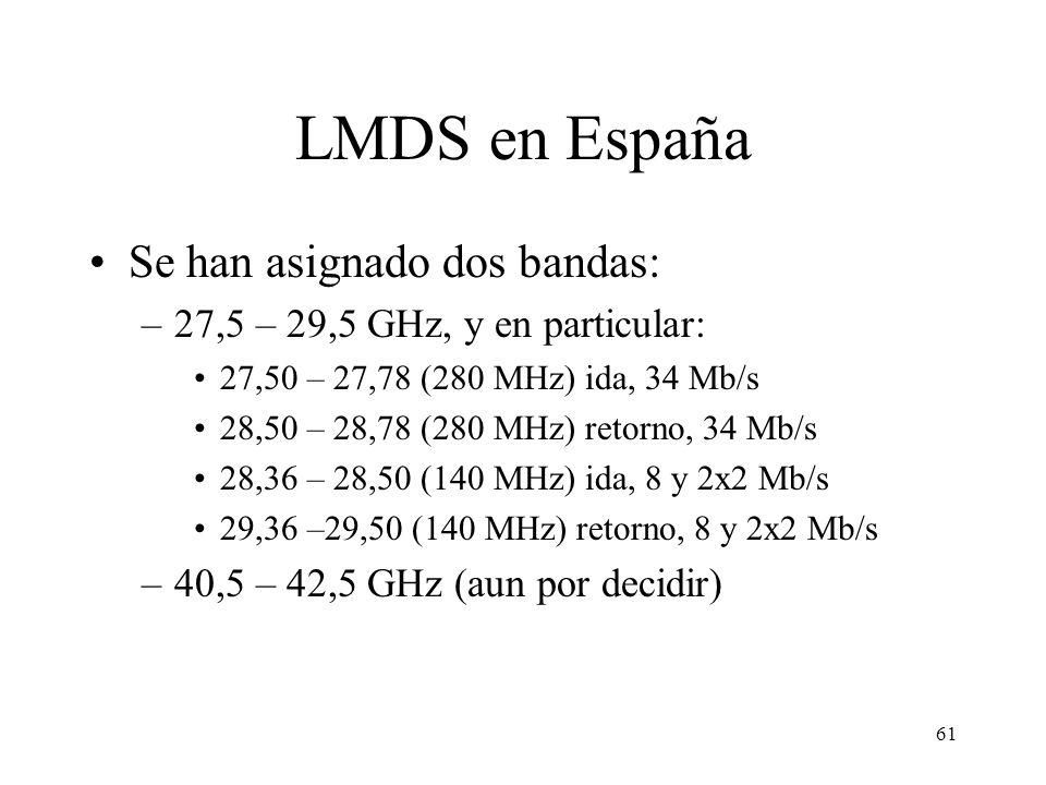61 LMDS en España Se han asignado dos bandas: –27,5 – 29,5 GHz, y en particular: 27,50 – 27,78 (280 MHz) ida, 34 Mb/s 28,50 – 28,78 (280 MHz) retorno,