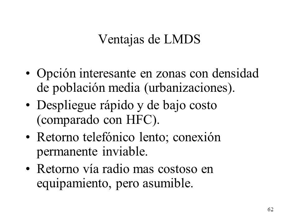 62 Ventajas de LMDS Opción interesante en zonas con densidad de población media (urbanizaciones). Despliegue rápido y de bajo costo (comparado con HFC