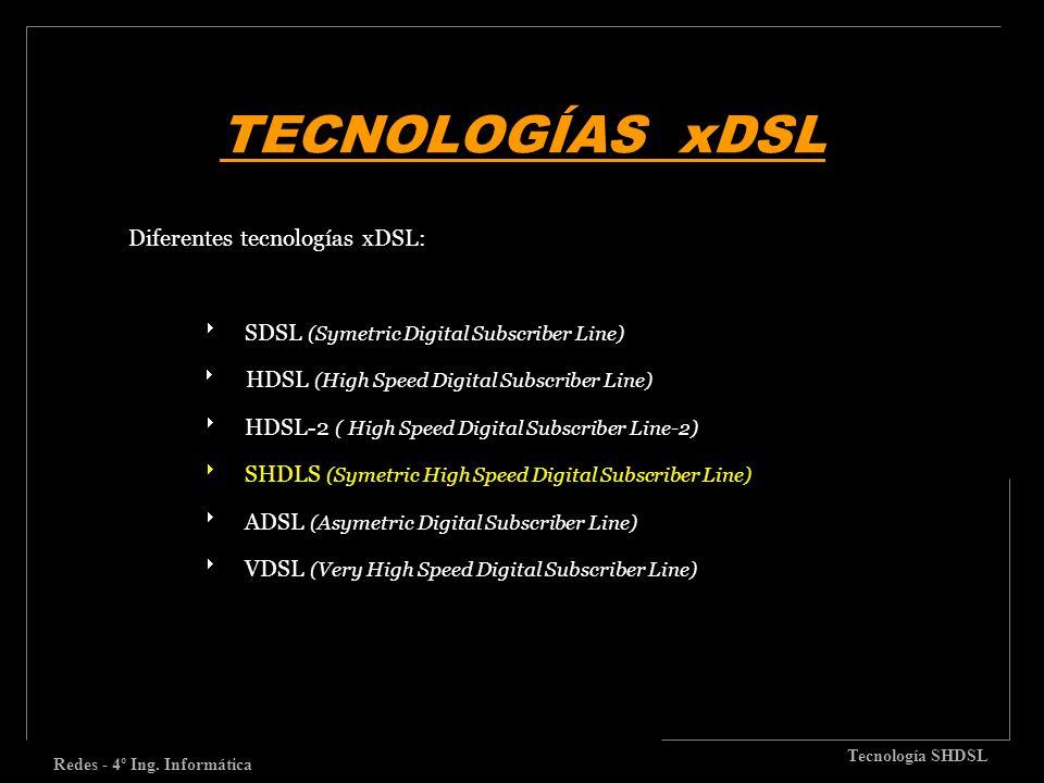 TECNOLOGÍAS xDSL Redes - 4º Ing. Informática Tecnología SHDSL Diferentes tecnologías xDSL: SDSL (Symetric Digital Subscriber Line) HDSL (High Speed Di