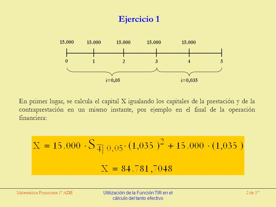 Matemática Financiera 1º ADEUtilización de la Función TIR en el cálculo del tanto efectivo 13 de 37 Ejercicio 1 (bis) En primer lugar, se calcula el capital X igualando los capitales de la prestación y de la contraprestación en un mismo instante, por ejemplo en el final de la operación financiera: 15.000 i=0,05i=0,035 15.000 X 0 123 4 5 500