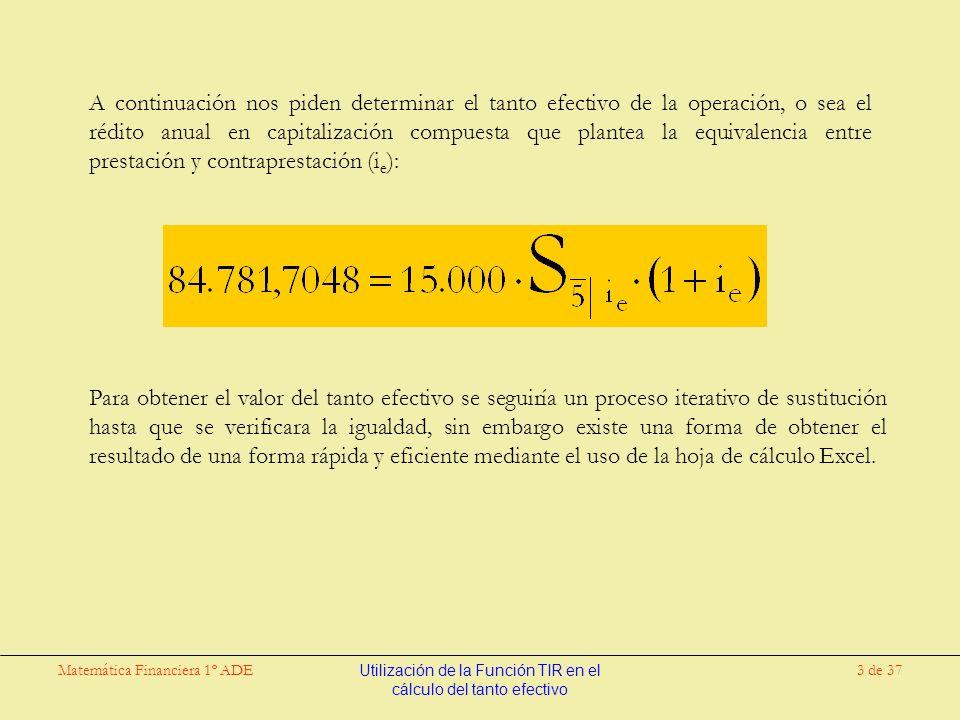 Matemática Financiera 1º ADEUtilización de la Función TIR en el cálculo del tanto efectivo 14 de 37 A continuación nos piden determinar el tanto efectivo de la operación, o sea el rédito anual en capitalización compuesta que plantea la equivalencia entre prestación y contraprestación (i e ): Para obtener el valor del tanto efectivo se seguiría un proceso iterativo de sustitución hasta que se verificara la igualdad, sin embargo existe una forma de obtener el resultado de una forma rápida y eficiente mediante el uso de la hoja de cálculo Excel.