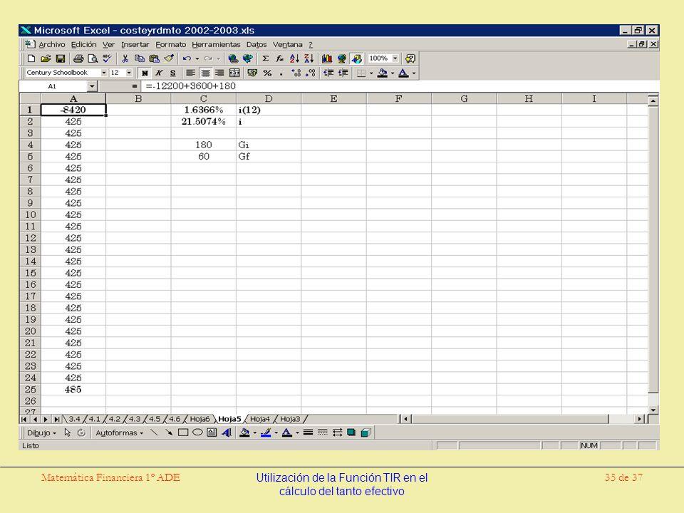 Matemática Financiera 1º ADEUtilización de la Función TIR en el cálculo del tanto efectivo 35 de 37