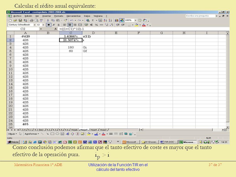 Matemática Financiera 1º ADEUtilización de la Función TIR en el cálculo del tanto efectivo 37 de 37 Calcular el rédito anual equivalente: Como conclusión podemos afirmar que el tanto efectivo de coste es mayor que el tanto efectivo de la operación pura.