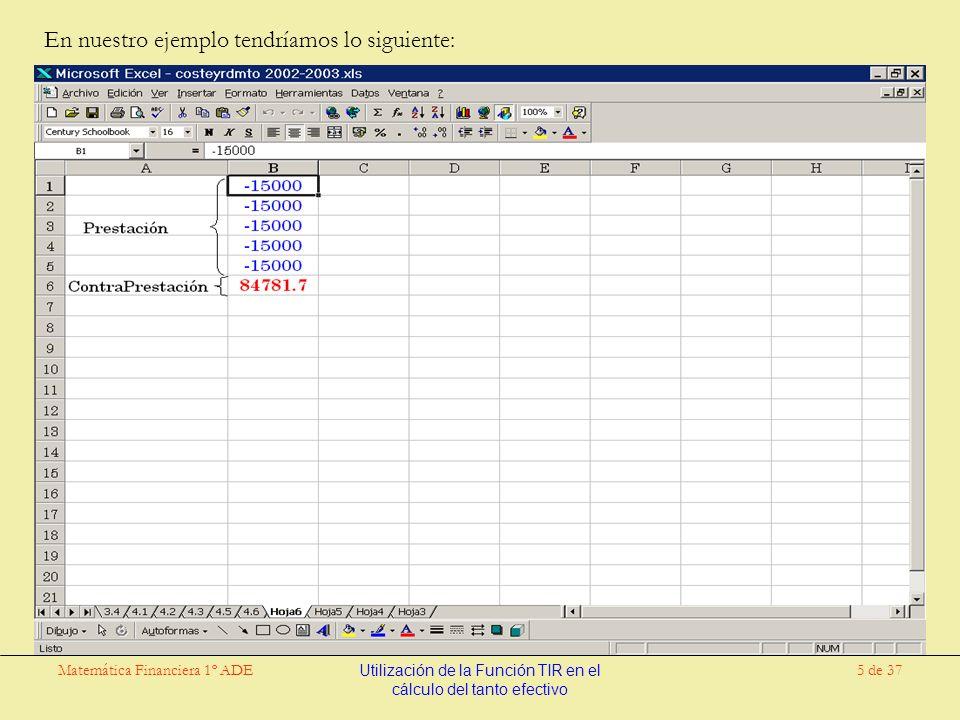 Matemática Financiera 1º ADEUtilización de la Función TIR en el cálculo del tanto efectivo 26 de 37 Sin embargo existe una forma de obtener el resultado de una forma rápida y eficiente mediante el uso de la hoja de cálculo Excel.