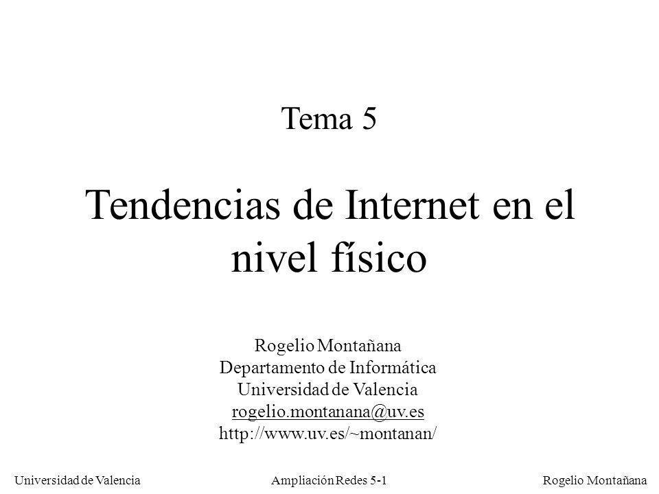 Universidad de Valencia Rogelio Montañana Ampliación Redes 5-1 Tema 5 Tendencias de Internet en el nivel físico Rogelio Montañana Departamento de Info