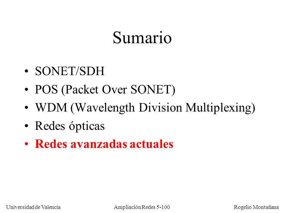 Universidad de Valencia Rogelio Montañana Ampliación Redes 5-100 Sumario SONET/SDH POS (Packet Over SONET) WDM (Wavelength Division Multiplexing) Rede