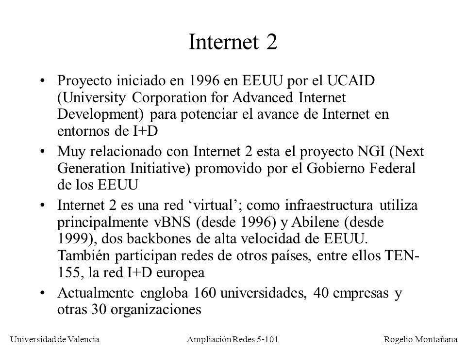 Universidad de Valencia Rogelio Montañana Ampliación Redes 5-101 Internet 2 Proyecto iniciado en 1996 en EEUU por el UCAID (University Corporation for